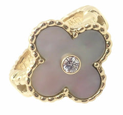 Van Cleef & Arpels Vintage Alhambra 18k Yellow Gold Diamond Mother of Pearl Ring