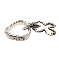 Chanel Sterling Silver Four Leaf Clover Wave Band Ring Sz 4