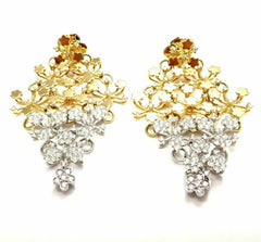 Authentic! Pasquale Bruni 18k Yellow White Gold Diamond Flower Field Earrings