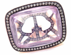 Rare! Authentic Hermes 18k Rose Gold Diamond Large Amethyst Ring