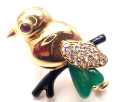 Authentic! Cartier 18k Yellow Gold Diamond Onyx Ruby Chalcedony Bird Pin Brooch