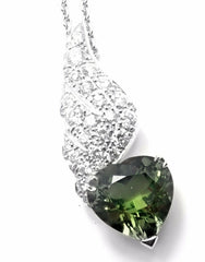 Rare! Authentic Piaget 18k White Gold Diamond Peridot Heart Pendant Necklace