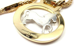 Rare! Authentic HERMES 18k Yellow & White Gold Horse Pendant Necklace