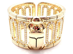 Authentic Cartier Scarab 18k Yellow Gold 15.4ct Diamond Cuff Bangle Bracelet