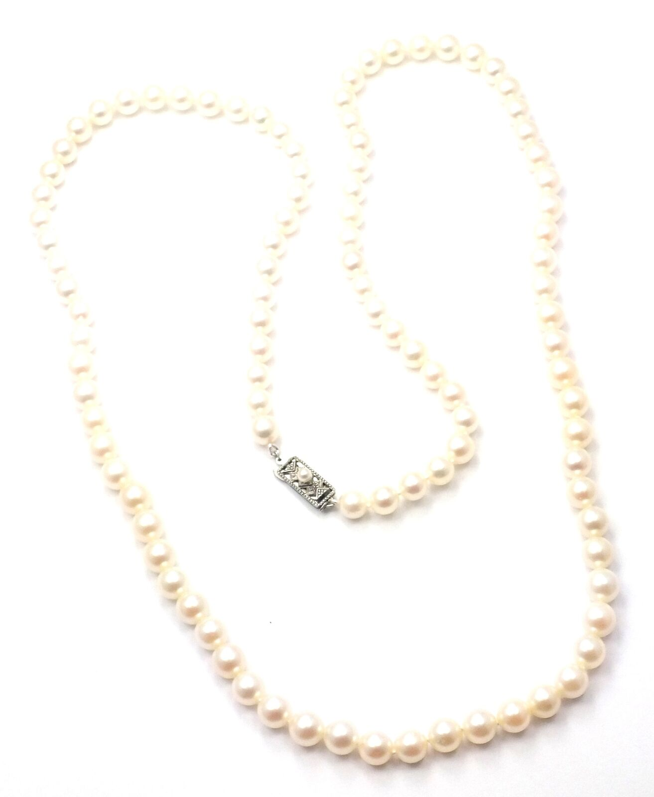 "Authentic! Mikimoto Sterling Silver 6.5mm to 7.25mm 30"" Long Pearl Necklace"