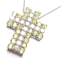 New! Authentic Pasquale Bruni 18k White Gold Diamond Peridot Cross Necklace