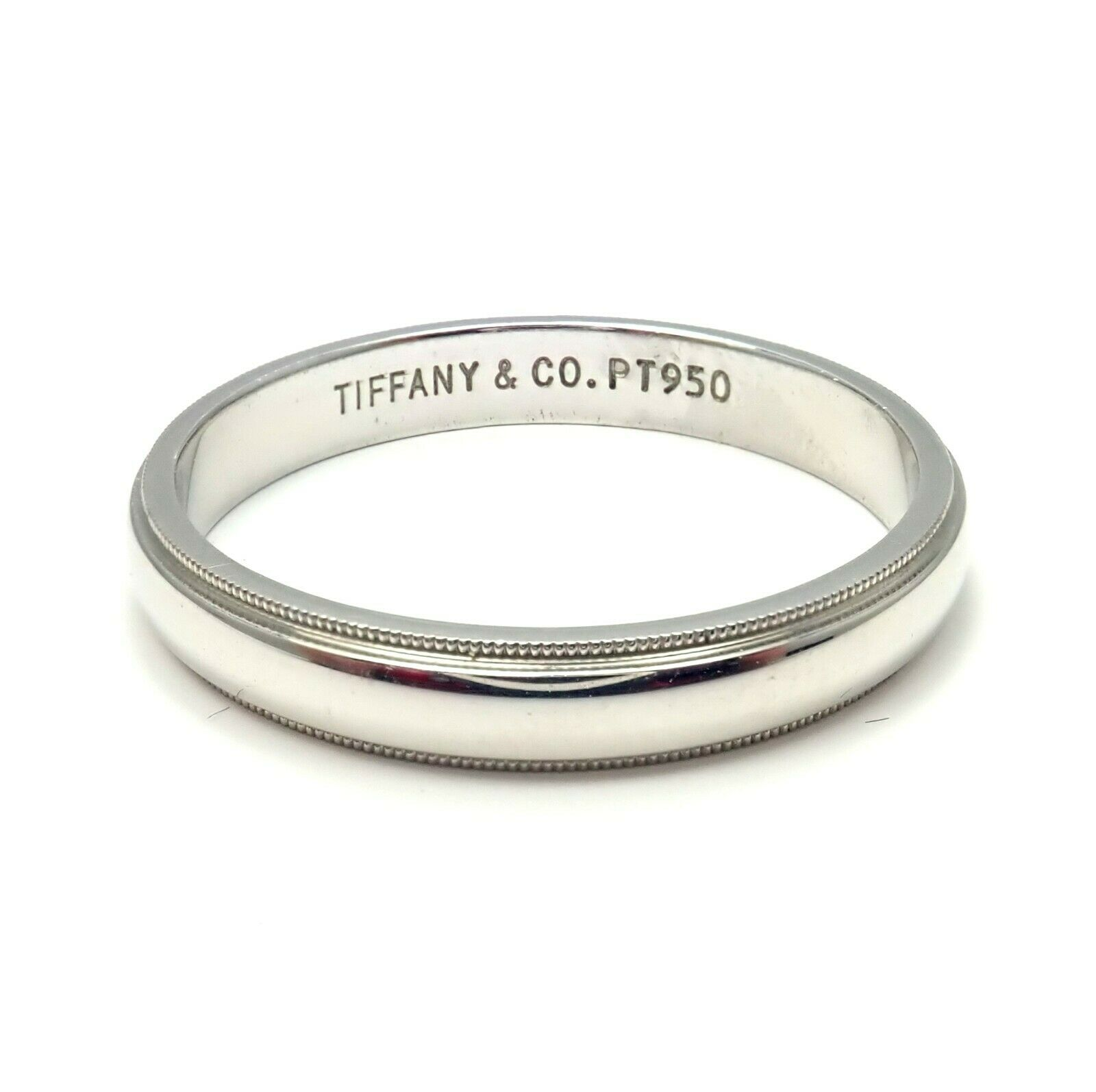 Tiffany & Co. Platinum 4mm Mens Wedding Band Ring Size 14.5