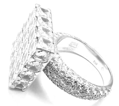 Chopard Limited Edition Super Ice Cube 18k White Gold 15ct Diamond Rotating Ring