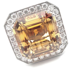 Authentic! Pasquale Bruni 18k White Gold Diamond Citrine Large Ring
