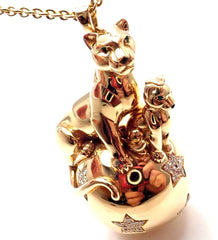Authentic! Cartier 18k Gold Panthere Diamond 2 Panthers Balloon Pendant Necklace