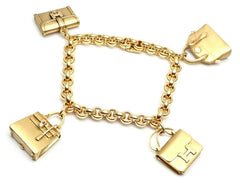 Rare! Authentic Hermes 18k Yellow Gold 4 Hanging Bag Charm Link Bracelet