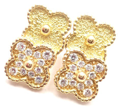 Rare VAN CLEEF & ARPELS Vintage 18k Yellow Gold Diamond Double Alhambra Earrings