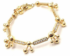 Authentic! Bvlgari Bulgari Astrale 18k Yellow Gold Diamond Link Bracelet Cert.