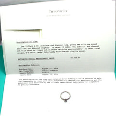 Authentic Tiffany & Co. Platinum 0.51ctw Diamond E/VS1 Engagement Ring 5 Cert
