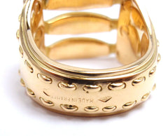 AUTHENTIC HERMES 18K YELLOW GOLD TIED AND STITCHED DESIGN BAND RING, SIZE 5.5