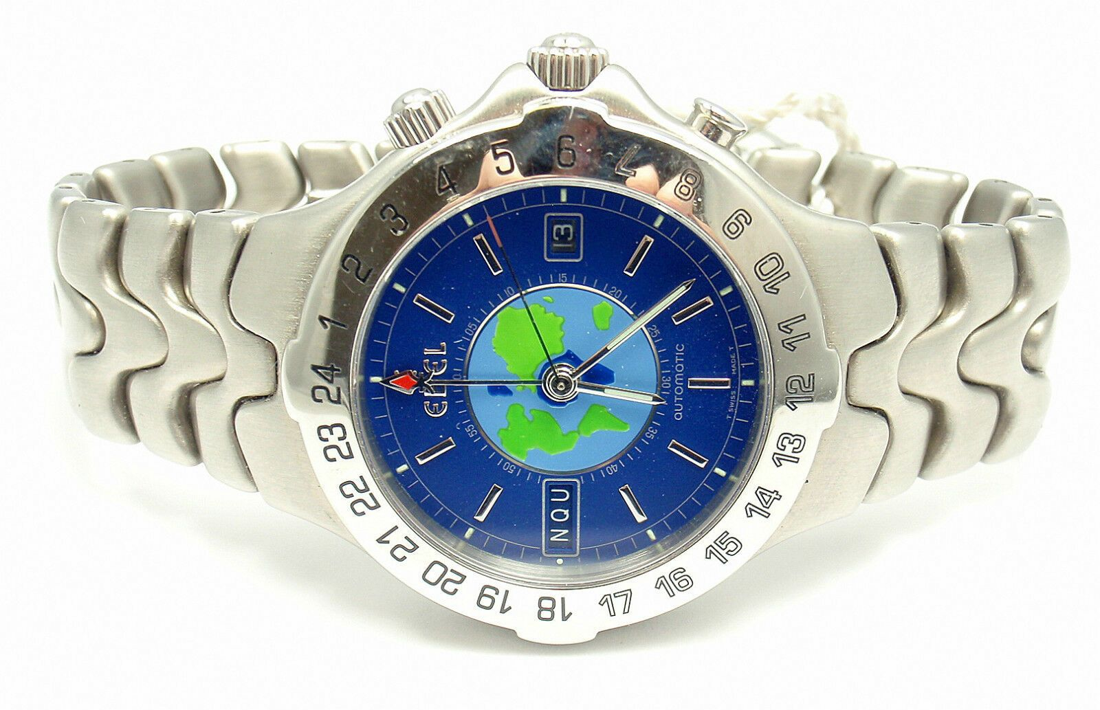SHARP! AUTHENTIC EBEL STAINLESS STEEL BLUE DIAL SPORTWAVE WORLD TIME WATCH