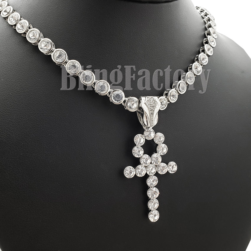 "Hip Hop Ankh Cros Pendant & 20"" CZ Chain & 18"" Iced Cuban Choker Chain Necklace Set"