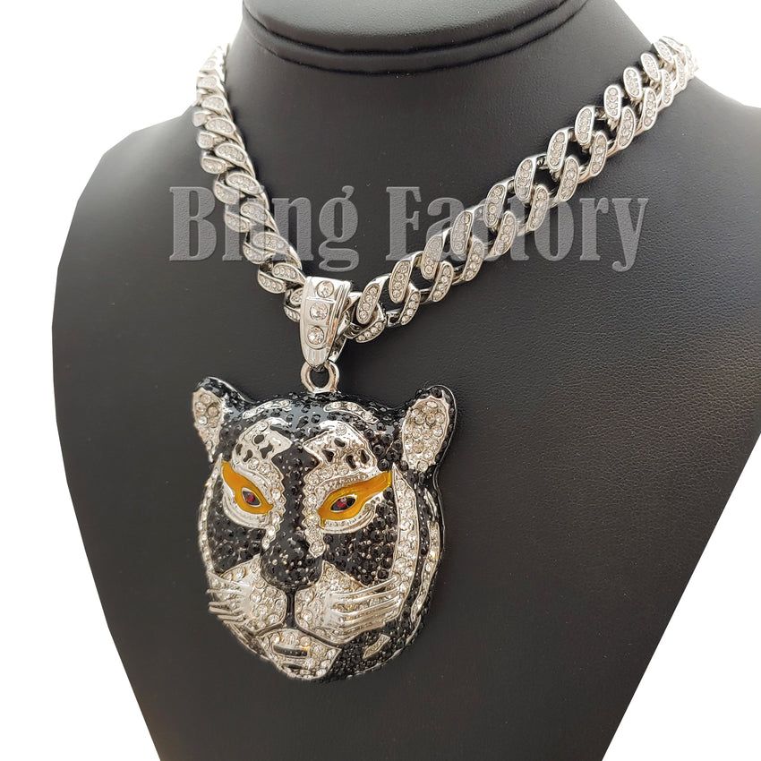 "Hip Hop Silver PT Tiger Pendant & 18"" Full Iced Cuban Choker Chain Necklace"