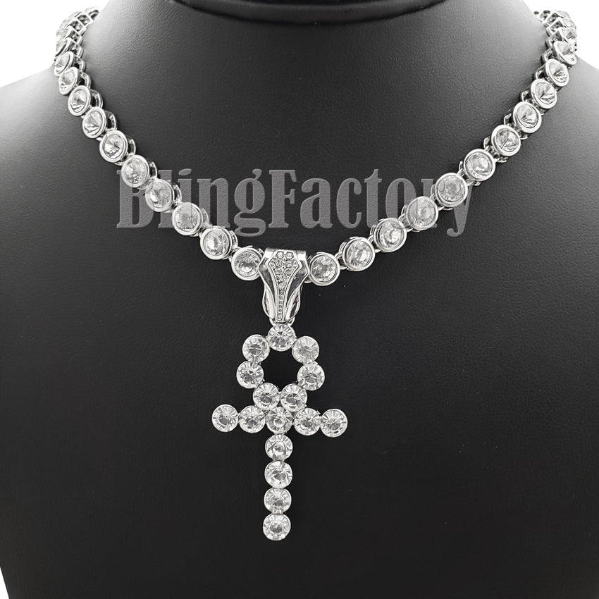 "Hip Hop White Gold PT Ankh Cross Pendant & 7mm 20"" Iced CZ Choker Chain Necklace"