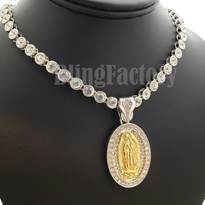 "Hip Hop Guadalupe Mother Mary Pendant & 7mm 20"" Iced CZ Choker Chain Necklace"
