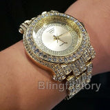 Men Hip Hop Iced out Gold Plated Bling Simulated Diamond Rapper Metal Band Watch