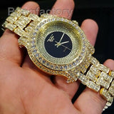Men Hip Hop Iced out Gold Plated Bling Black Dial Lab Diamond Rapper Metal Watch