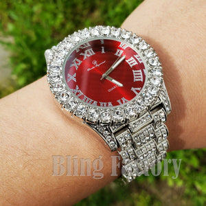 Men's Hip Hop Iced Red Dial White Gold PT Migos Bling BIG Simulated Diamond Watch