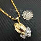 "Stainless Steel Gold PT Praying Hands Pendant & 24"" Round Box Chain Necklace"