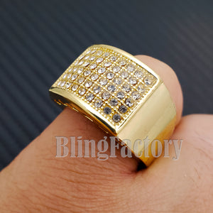 MENS ICED OUT HIP HOP LUXURY LAB DIAMOND RAPPER'S GOLD PLATED PINKY 8 ~ 12 RING