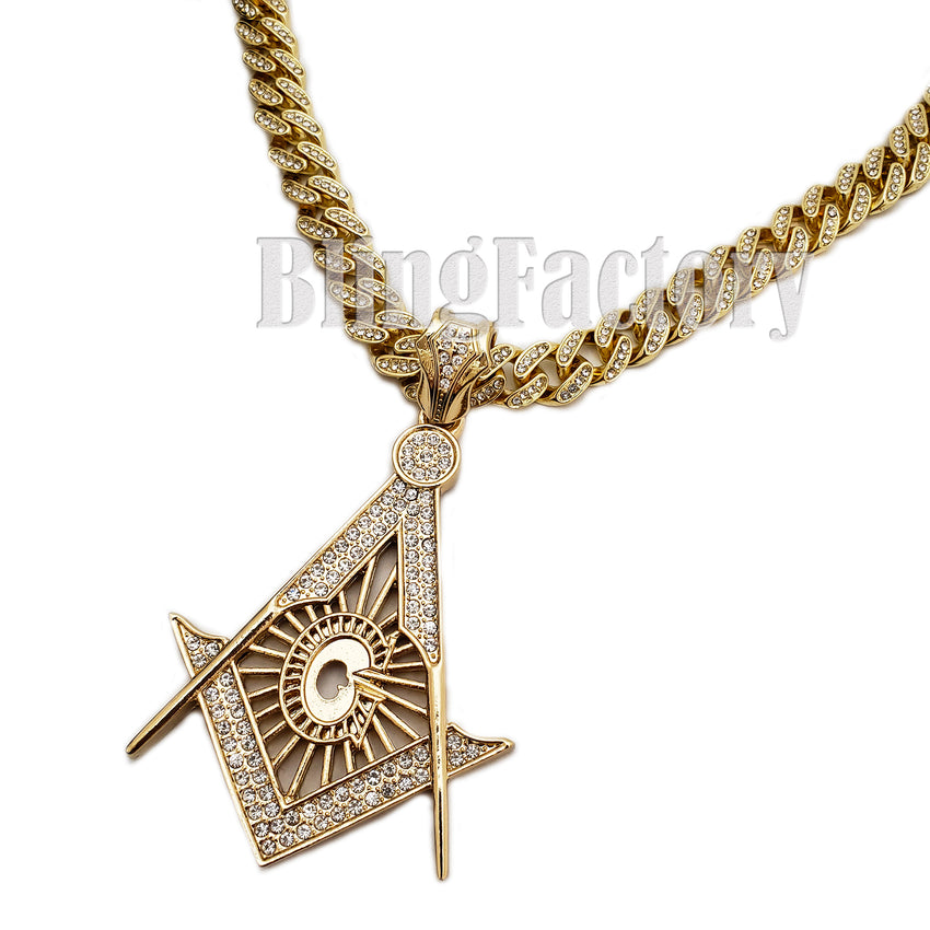 "Hip Hop Large Freemason Masonic pendant & 12mm 18"" Full Iced Cuban Choker Chain Necklace"