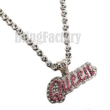 "Women's Hip Hop White Gold PT Queen Pendant & 7mm 20"" Iced CZ Choker Chain Necklace"