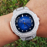Men Luxury Urban Style Bling White Gold PT Blue Dial Lab Diamond Clubbing Watch