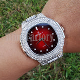 Men Luxury Urban Style Bling White Gold PT Red Dial Lab Diamond Clubbing Watch