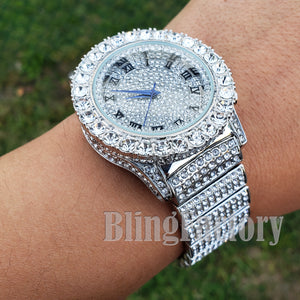 Men Hip Hop Iced Bling White Gold PT Rapper Lab Diamond Urban Metal Offset Watch