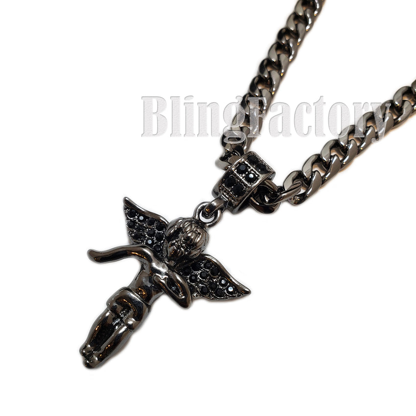 "ICED BLING BABY ANGEL BLACK PENDANT & 5mm 24"" CUBAN CHAIN HIP HOP NECKLACE"