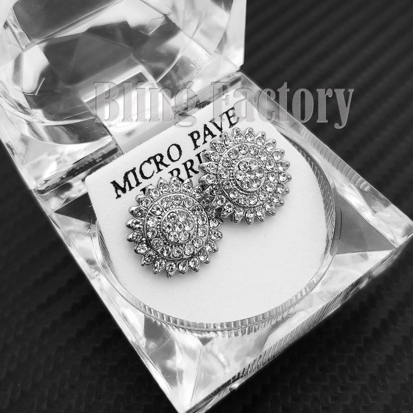 ICED FASHION HIP HOP GOLD & SILVER PLATED CZ FLOWER SHAPE STUD BLING EARRINGS