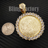 "Hip Hop Gold PT Picture Frame Pendant & 12mm 18"" Iced Box Lock Cuban Chain Necklace"