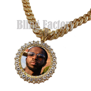 Hip Hop Gold PT Picture Frame Pendant & 12mm 18