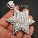 HIP HOP ICED LAB DIAMOND WHITE GOLD PLATED LARGE STAR OF DAVID CHARM PENDANT