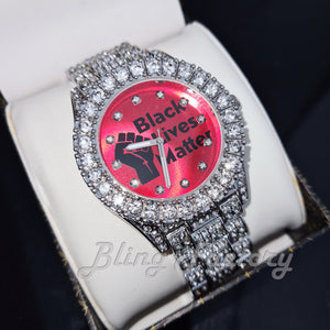 HIP HOP WHITE GOLD PLATED BLACK LIVES MATTER DIAL BLING WRIST METAL WATCH