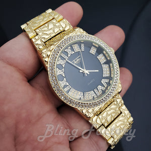 Iced Luxury Hip Hop Golden Nugget Black Dial Wrist Dress Bling Metal Watch
