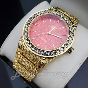 Iced Luxury Hip Hop Golden Nugget Red Dial Wrist Dress Bling Metal Watch