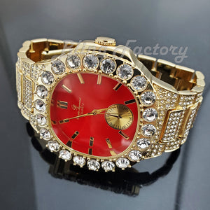 Men's Luxury Hip Hop Gold finished Designer Style Red Dial Rapper's Big CZ Bezel Watch