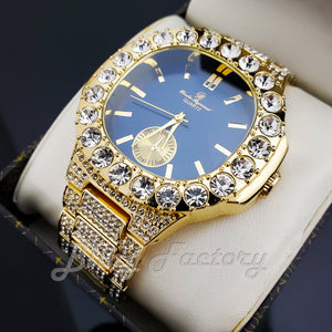 Men's Luxury Hip Hop Gold finished Designer Style Blue Dial Rapper's Big CZ Bezel Watch