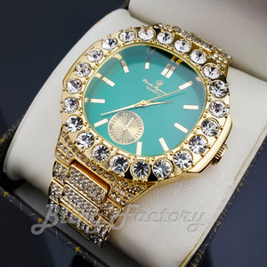 Men's Luxury Hip Hop Gold finished Designer Style Green Dial Rapper's Big CZ Bezel Watch