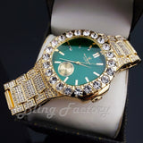 HIP HOP GOLD PT LUXURY GREEN DIAL WATCH & ICED CUBAN BOX LOCK BRACELET SET
