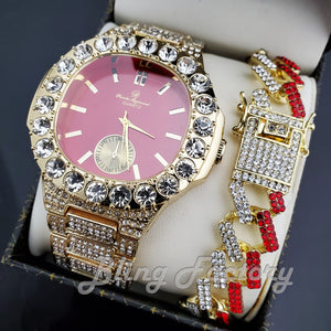 HIP HOP GOLD PT LUXURY RED DIAL WATCH & ICED LINK BOX LOCK BRACELET SET