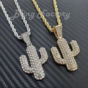 Hip Hop Iced Cactus Pendant & 4mm 24