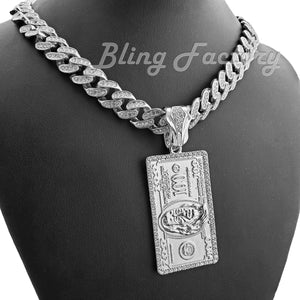 White Gold Plated $100 Dollar Bill Benjamin pendant & 16