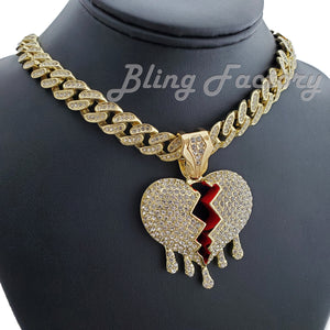 Gold Plated Broken Heart Drip Pendant & 12mm 16